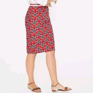 BODEN red pop floral pencil skirt